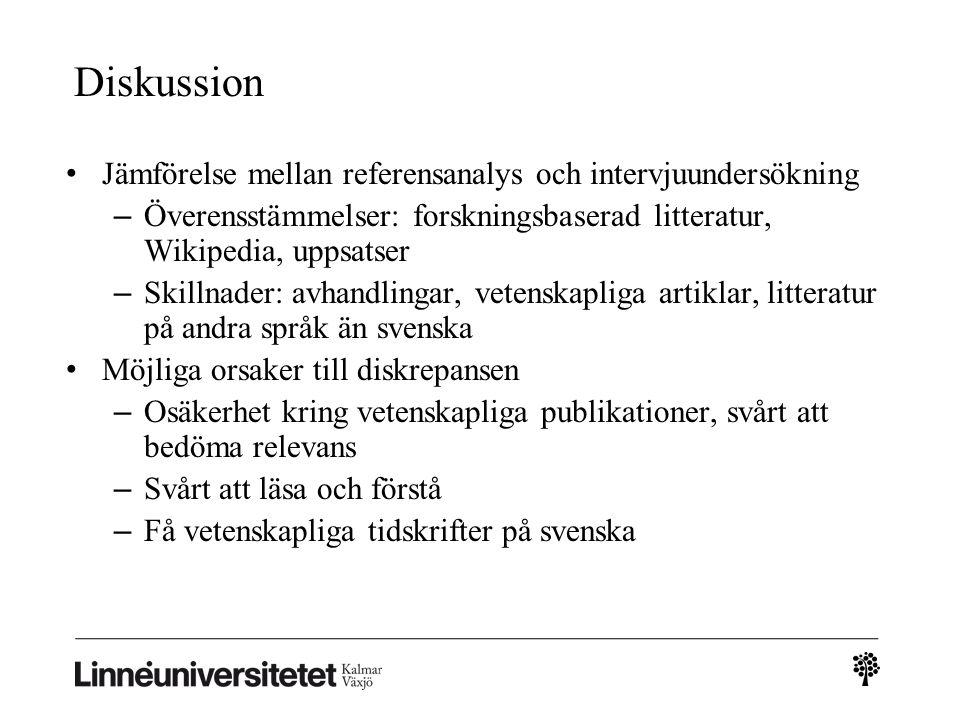 Förtrogenhet med olika typer av källor Twait (2008) – undersökning av studenters relevanskriterier.