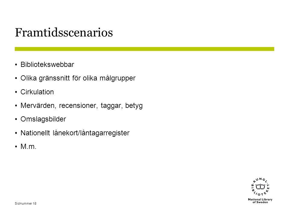 Sidnummer 18 Framtidsscenarios Bibliotekswebbar Olika gränssnitt för olika målgrupper Cirkulation Mervärden, recensioner, taggar, betyg Omslagsbilder Nationellt lånekort/låntagarregister M.m.