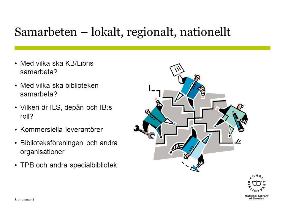 Sidnummer 8 Samarbeten – lokalt, regionalt, nationellt Med vilka ska KB/Libris samarbeta.