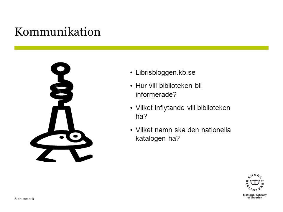 Sidnummer 9 Kommunikation Librisbloggen.kb.se Hur vill biblioteken bli informerade.