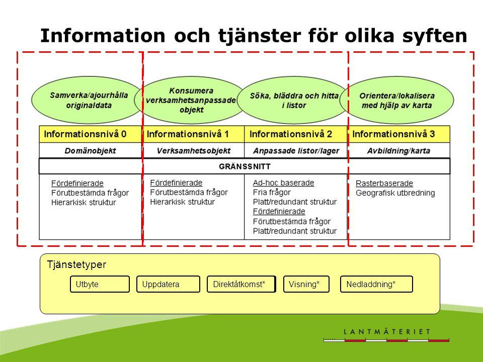 Tjänstetyper Tjänster anpassad för olika informa DirektåtkomstVisning*Nedladdning*UtbyteUppdateraDirektåtkomst* Information och tjänster för olika syften