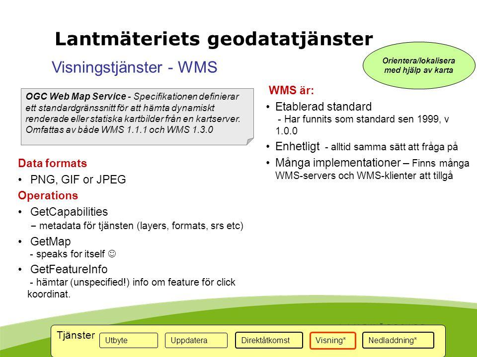 OGC Web Map Service - Specifikationen definierar ett standardgränssnitt för att hämta dynamiskt renderade eller statiska kartbilder från en kartserver.