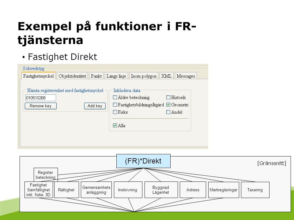 Exempel på funktioner i FR- tjänsterna Fastighet Direkt Fastighet Samfällighet inkl. fiske, 3D Gemensamhets anläggning Inskrivning Byggnad Lägenhet Ad