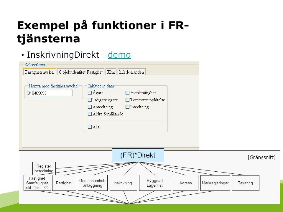 Exempel på funktioner i FR- tjänsterna InskrivningDirekt - demodemo Fastighet Samfällighet inkl. fiske, 3D Gemensamhets anläggning Inskrivning Byggnad