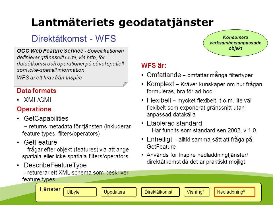 OGC Web Feature Service - Specifikationen definierar gränssnitt i xml, via http, för dataåtkomst och operationer på såväl spatiell som icke-spatiell i