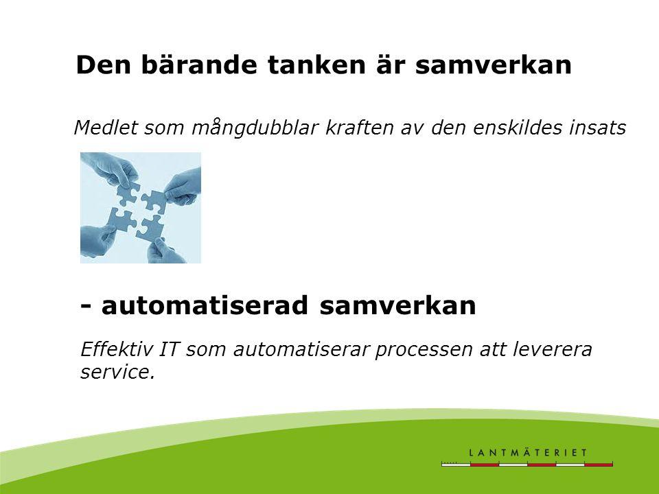 Automatiseringen rör informationsutbytet mellan myndigheter (B2B) mellan myndigheter och företag (B2B) mellan myndigheter och privatpersoner (B2C) vilket ställer krav på -ökad service och IT-användning i myndighetskontakten - samverkande elektroniska tjänster Automatiserad samverkan