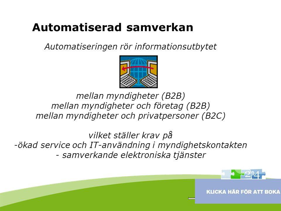 Automatiseringen rör informationsutbytet mellan myndigheter (B2B) mellan myndigheter och företag (B2B) mellan myndigheter och privatpersoner (B2C) vil