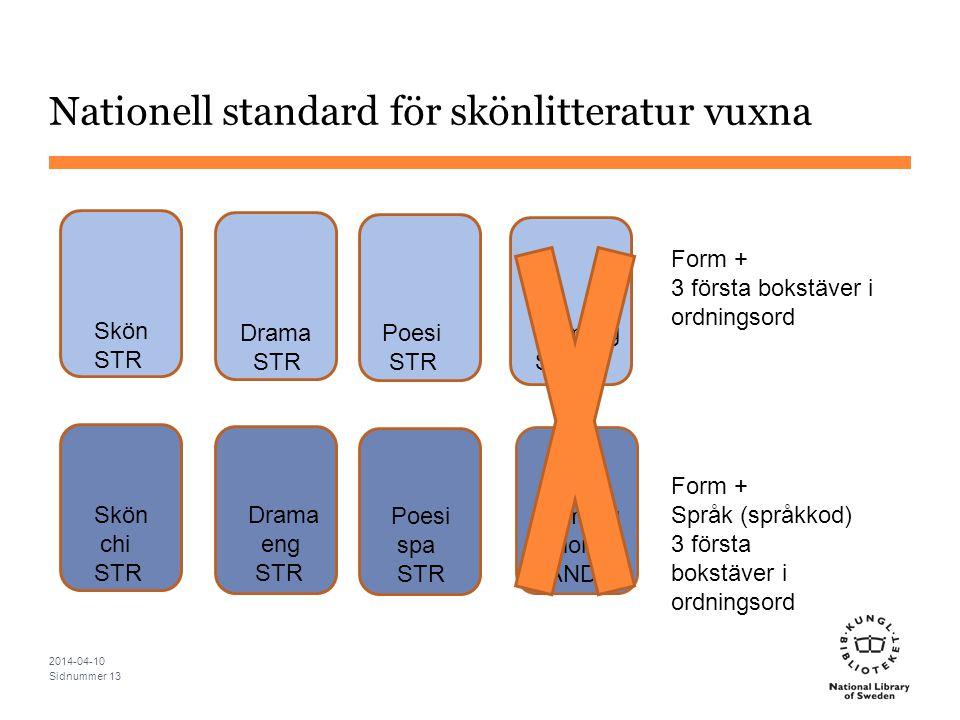 Nationell standard för skönlitteratur vuxna 2014-04-10 Sidnummer 13 Skön STR Drama STR Poesi STR Drama eng STR Poesi spa STR Skön chi STR Form + 3 för
