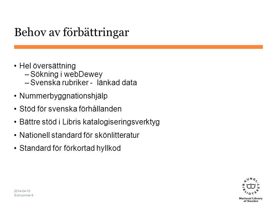 Behov av förbättringar Hel översättning –Sökning i webDewey –Svenska rubriker - länkad data Nummerbyggnationshjälp Stöd för svenska förhållanden Bättr