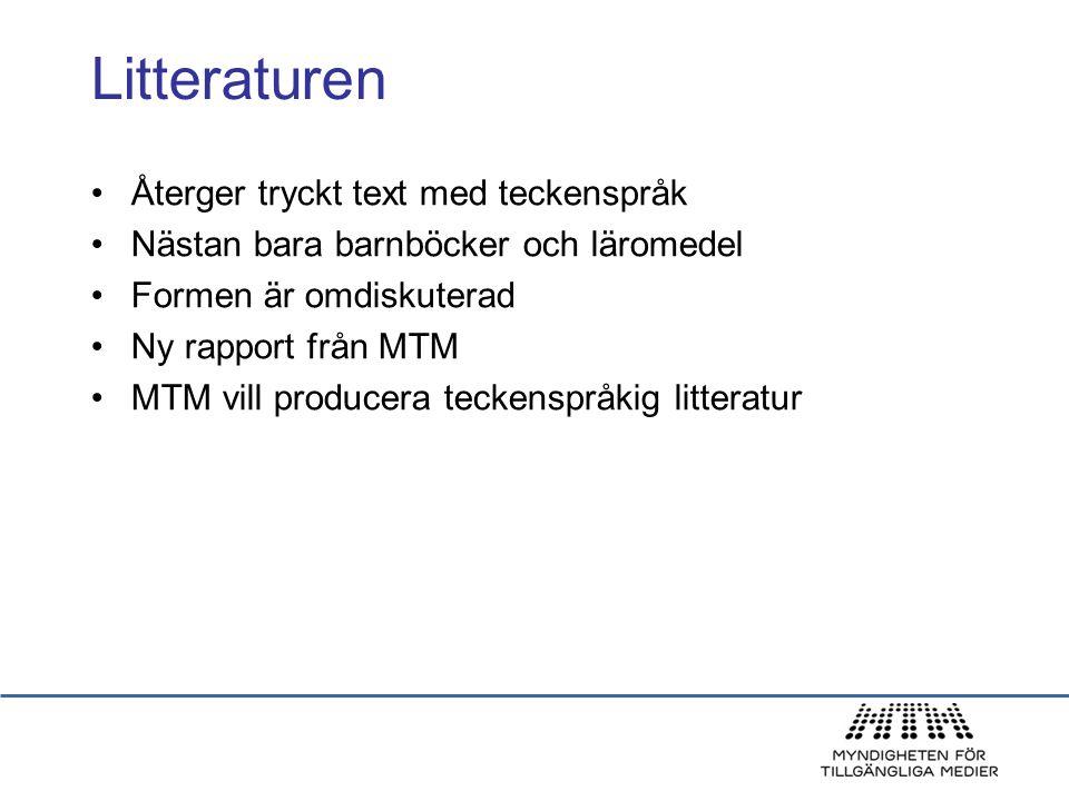 Litteraturen Återger tryckt text med teckenspråk Nästan bara barnböcker och läromedel Formen är omdiskuterad Ny rapport från MTM MTM vill producera te