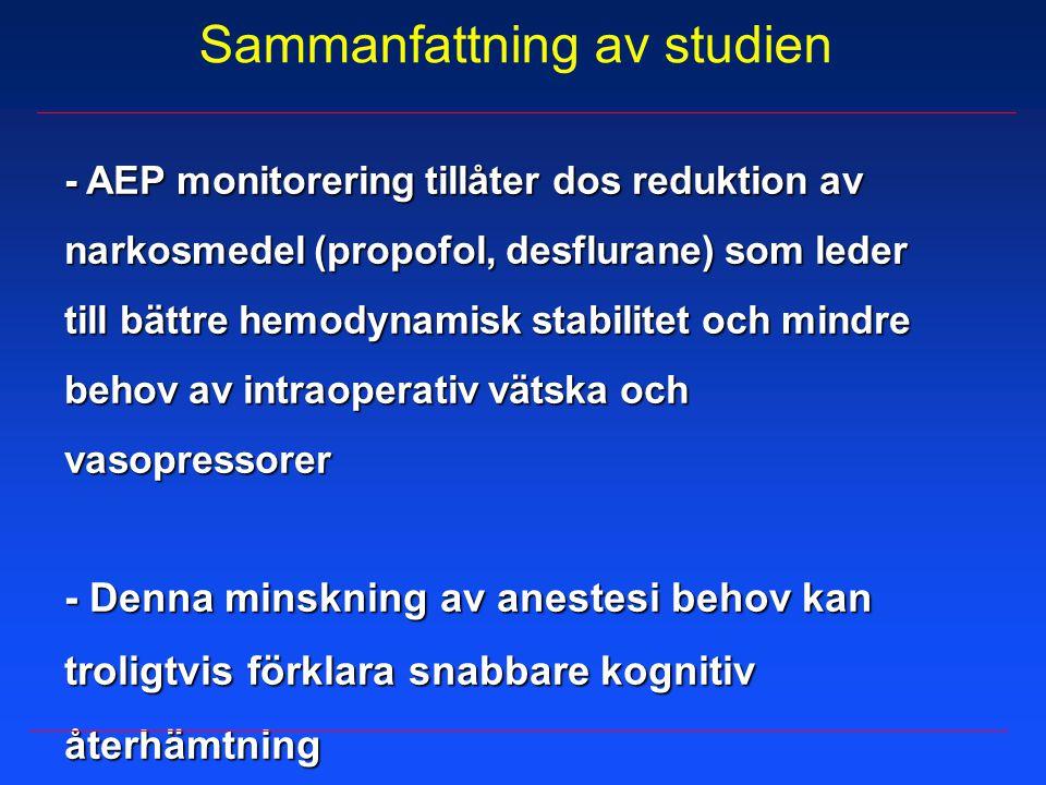 Sammanfattning av studien - AEP monitorering tillåter dos reduktion av narkosmedel (propofol, desflurane) som leder till bättre hemodynamisk stabilite