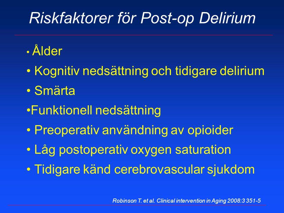 Riskfaktorer för Post-op Delirium Ålder Kognitiv nedsättning och tidigare delirium Smärta Funktionell nedsättning Preoperativ användning av opioider L