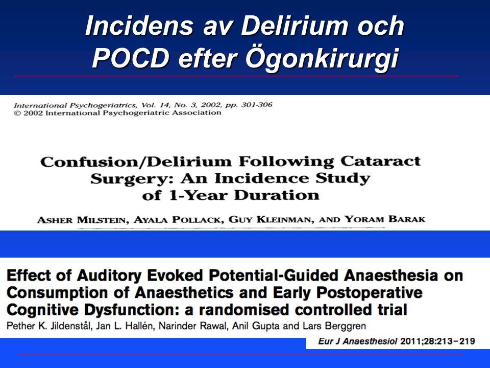 Delirium och POCD efter ögonkirurgi Postoperativ delirium - Incidens 2% efter regionalanestesi - Incidens 6% efter generellanestesi Milstein A.