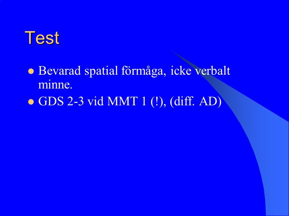 Test Bevarad spatial förmåga, icke verbalt minne. GDS 2-3 vid MMT 1 (!), (diff. AD)