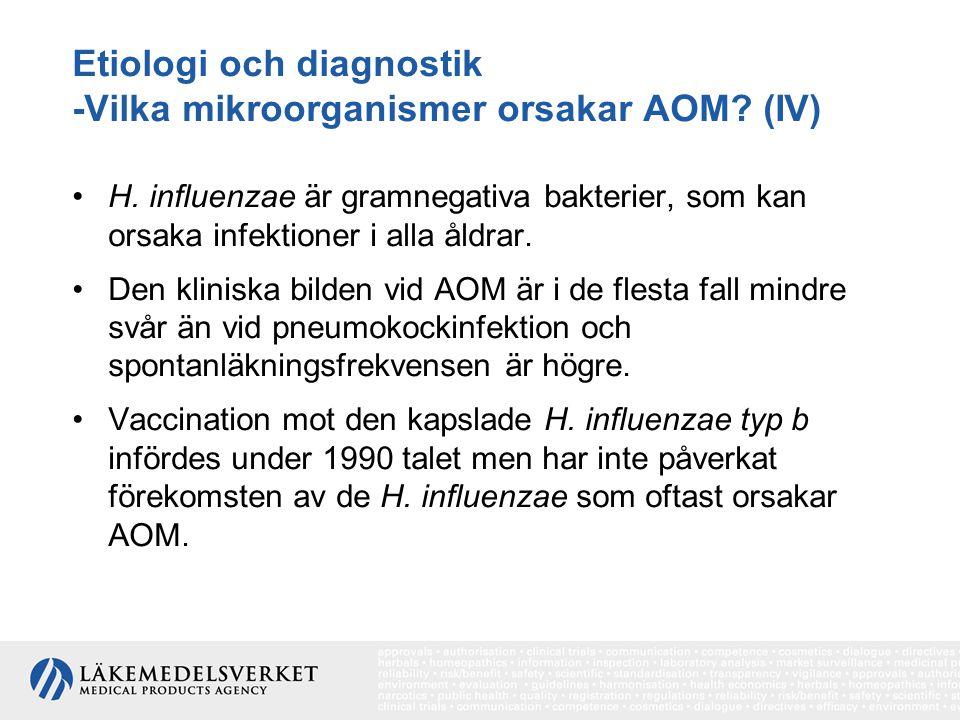 Etiologi och diagnostik -Vilka mikroorganismer orsakar AOM? (IV) H. influenzae är gramnegativa bakterier, som kan orsaka infektioner i alla åldrar. De
