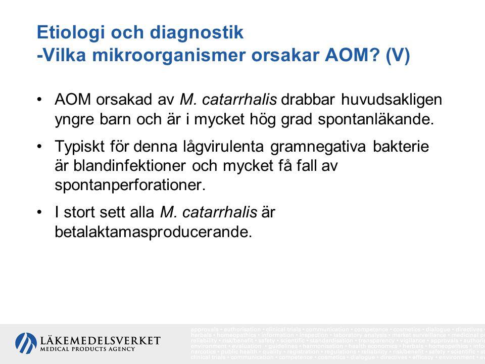 Etiologi och diagnostik -Vilka mikroorganismer orsakar AOM? (V) AOM orsakad av M. catarrhalis drabbar huvudsakligen yngre barn och är i mycket hög gra