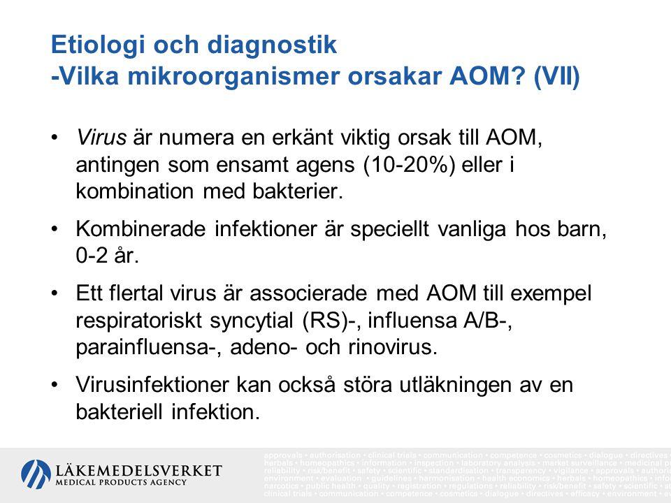 Etiologi och diagnostik -Vilka mikroorganismer orsakar AOM? (VII) Virus är numera en erkänt viktig orsak till AOM, antingen som ensamt agens (10-20%)