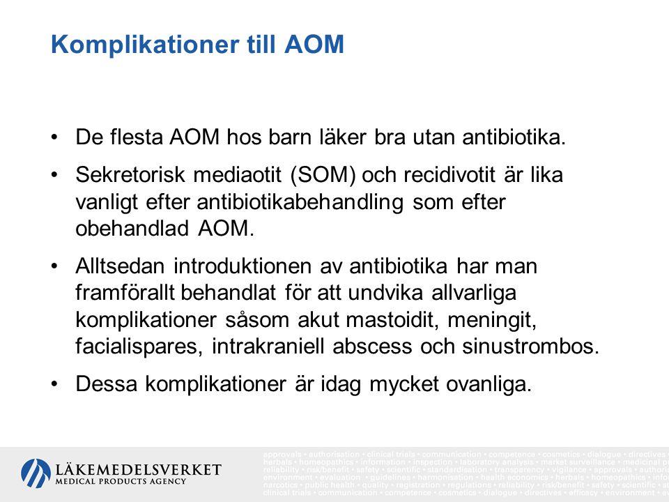 Komplikationer till AOM De flesta AOM hos barn läker bra utan antibiotika. Sekretorisk mediaotit (SOM) och recidivotit är lika vanligt efter antibioti