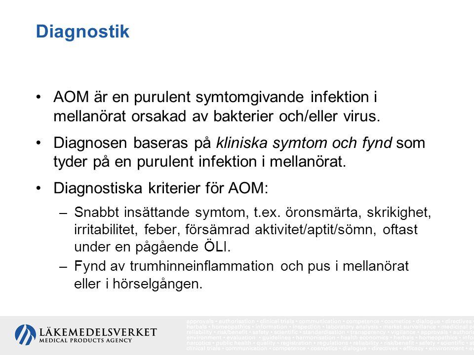 Diagnostik AOM är en purulent symtomgivande infektion i mellanörat orsakad av bakterier och/eller virus. Diagnosen baseras på kliniska symtom och fynd