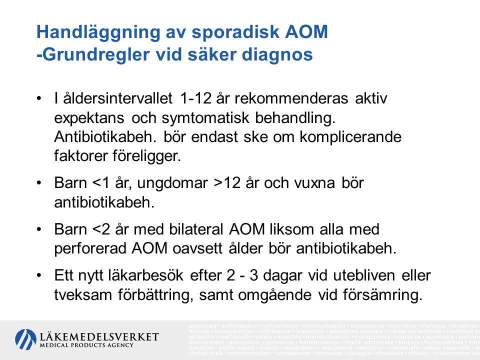 Handläggning av sporadisk AOM -Grundregler vid säker diagnos I åldersintervallet 1-12 år rekommenderas aktiv expektans och symtomatisk behandling. Ant