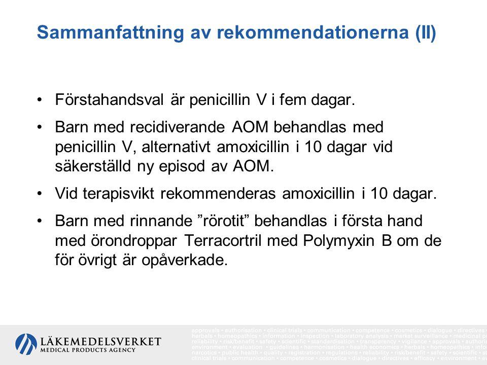 Sammanfattning av rekommendationerna (II) Förstahandsval är penicillin V i fem dagar. Barn med recidiverande AOM behandlas med penicillin V, alternati