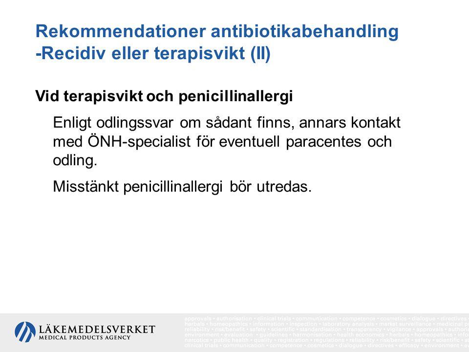 Rekommendationer antibiotikabehandling -Recidiv eller terapisvikt (II) Vid terapisvikt och penicillinallergi Enligt odlingssvar om sådant finns, annar