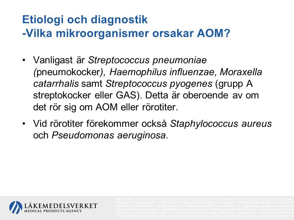 Etiologi och diagnostik -Vilka mikroorganismer orsakar AOM? Vanligast är Streptococcus pneumoniae (pneumokocker), Haemophilus influenzae, Moraxella ca