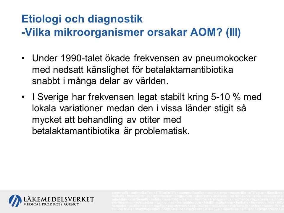 Etiologi och diagnostik -Vilka mikroorganismer orsakar AOM? (III) Under 1990-talet ökade frekvensen av pneumokocker med nedsatt känslighet för betalak