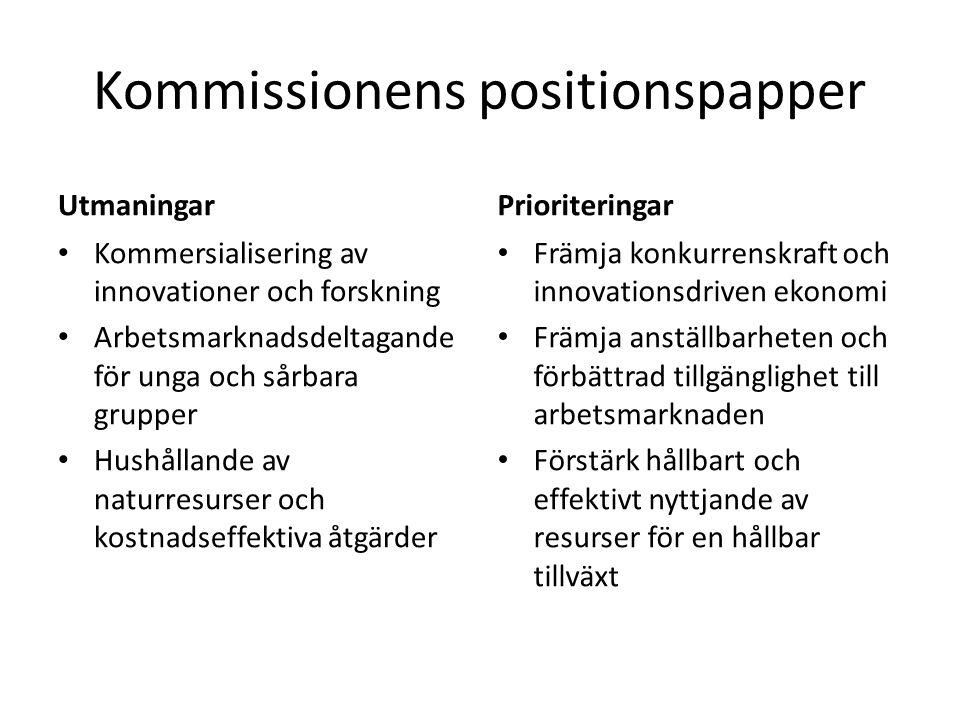 Kommissionens positionspapper Utmaningar Kommersialisering av innovationer och forskning Arbetsmarknadsdeltagande för unga och sårbara grupper Hushåll