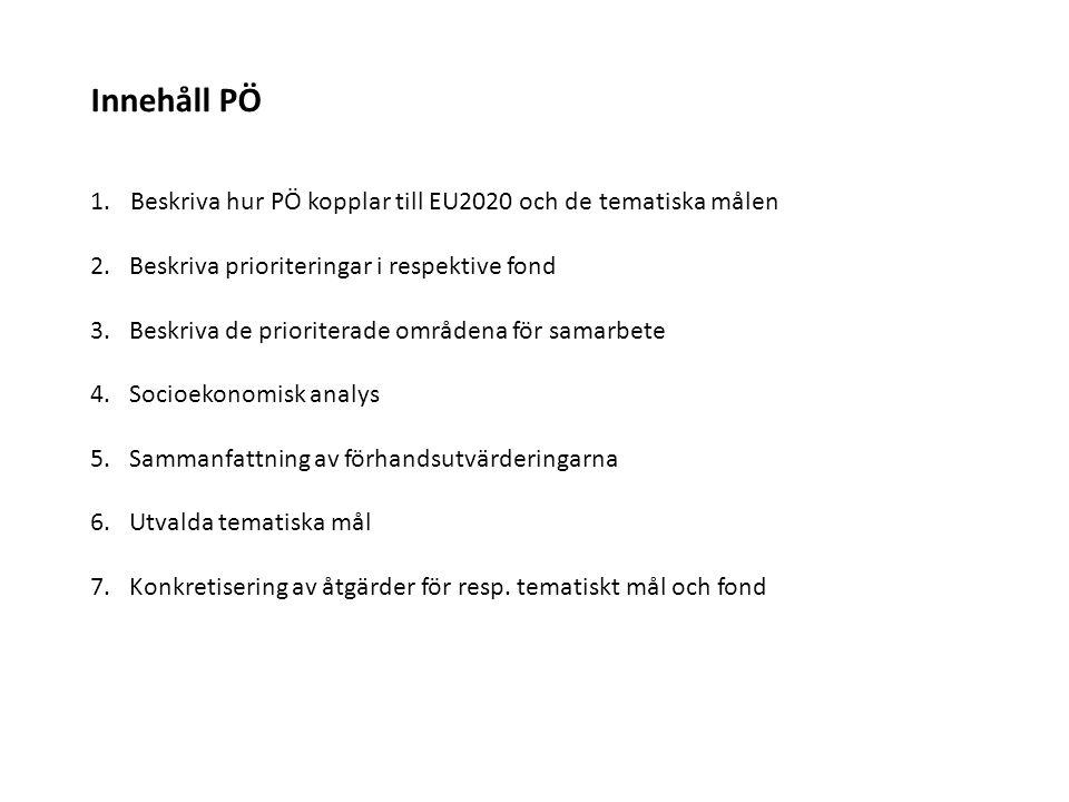 Innehåll PÖ 1.Beskriva hur PÖ kopplar till EU2020 och de tematiska målen 2. Beskriva prioriteringar i respektive fond 3. Beskriva de prioriterade områ