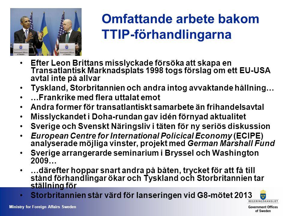 Ministry for Foreign Affairs Sweden Omfattande arbete bakom TTIP-förhandlingarna Efter Leon Brittans misslyckade försöka att skapa en Transatlantisk Marknadsplats 1998 togs förslag om ett EU-USA avtal inte på allvar Tyskland, Storbritannien och andra intog avvaktande hållning… …Frankrike med flera uttalat emot Andra former för transatlantiskt samarbete än frihandelsavtal Misslyckandet i Doha-rundan gav idén förnyad aktualitet Sverige och Svenskt Näringsliv i täten för ny seriös diskussion European Centre for International Policical Economy (ECIPE) analyserade möjliga vinster, projekt med German Marshall Fund Sverige arrangerarde seminarium i Bryssel och Washington 2009… …därefter hoppar snart andra på båten, trycket för att få till stånd förhandlingar ökar och Tyskland och Storbritannien tar ställning för Storbritannien står värd för lanseringen vid G8-mötet 2013