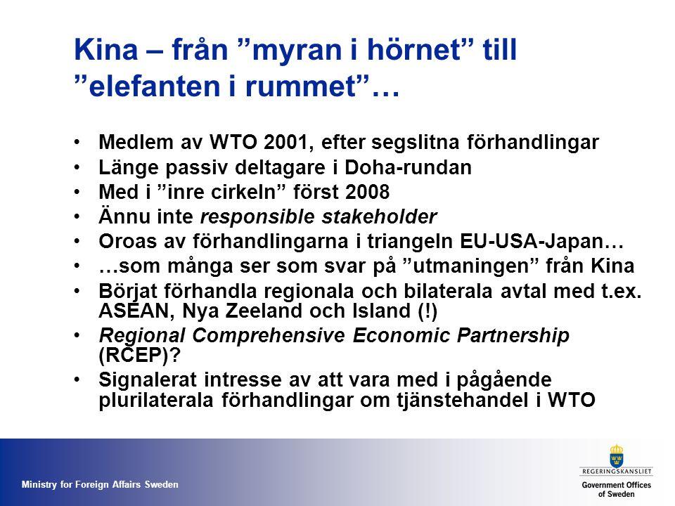 Ministry for Foreign Affairs Sweden Kina – från myran i hörnet till elefanten i rummet … Medlem av WTO 2001, efter segslitna förhandlingar Länge passiv deltagare i Doha-rundan Med i inre cirkeln först 2008 Ännu inte responsible stakeholder Oroas av förhandlingarna i triangeln EU-USA-Japan… …som många ser som svar på utmaningen från Kina Börjat förhandla regionala och bilaterala avtal med t.ex.
