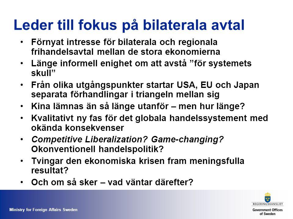 Ministry for Foreign Affairs Sweden Leder till fokus på bilaterala avtal Förnyat intresse för bilaterala och regionala frihandelsavtal mellan de stora ekonomierna Länge informell enighet om att avstå för systemets skull Från olika utgångspunkter startar USA, EU och Japan separata förhandlingar i triangeln mellan sig Kina lämnas än så länge utanför – men hur länge.