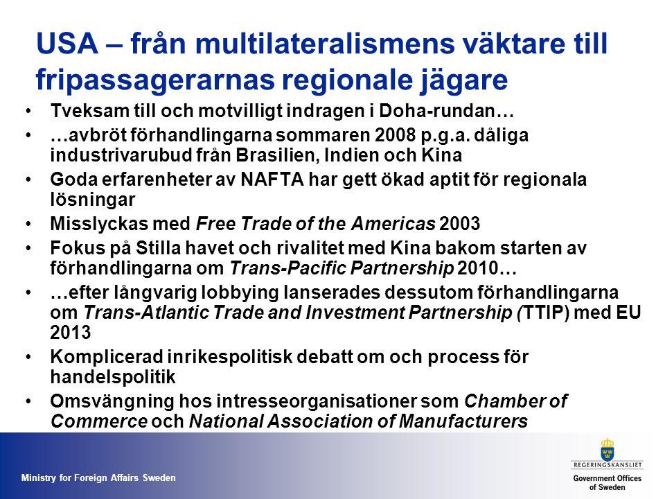 Ministry for Foreign Affairs Sweden USA – från multilateralismens väktare till fripassagerarnas regionale jägare Tveksam till och motvilligt indragen i Doha-rundan… …avbröt förhandlingarna sommaren 2008 p.g.a.