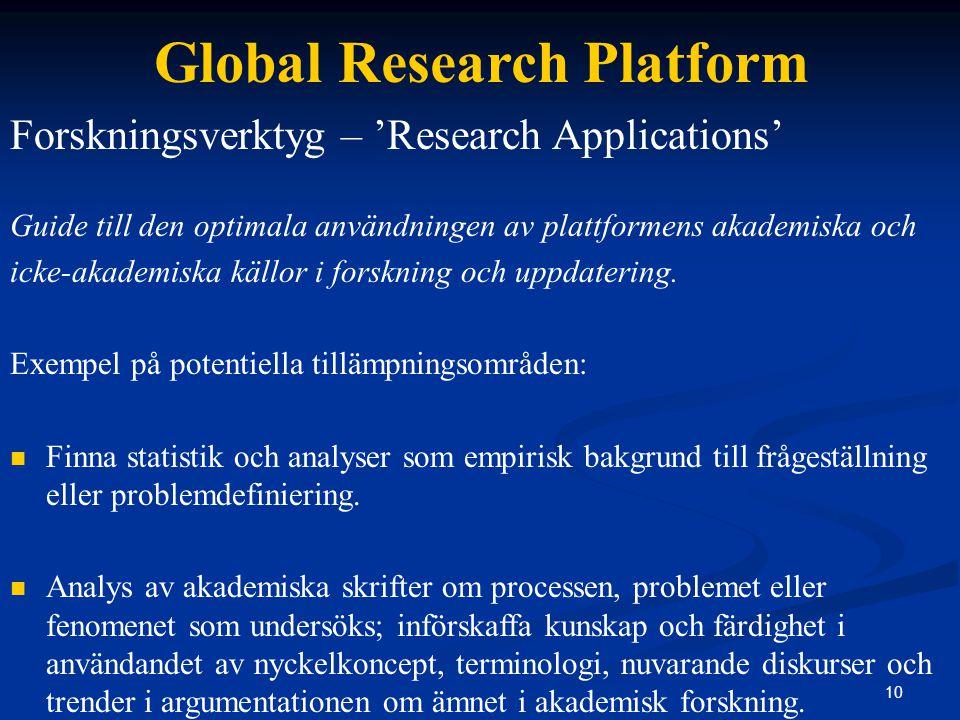 10 Global Research Platform Forskningsverktyg – 'Research Applications' Guide till den optimala användningen av plattformens akademiska och icke-akademiska källor i forskning och uppdatering.