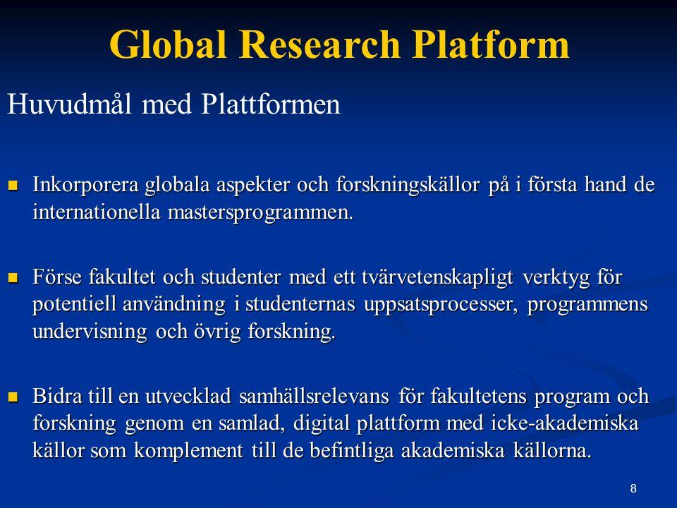 9 Global Research Platform Huvudmål med Plattformen Bidra till en kvalitetsförhöjning av studenternas uppsatser och andra 'papers' genom att erbjuda fler än 550 direkta länkar till empiriskt material och undersökningar.