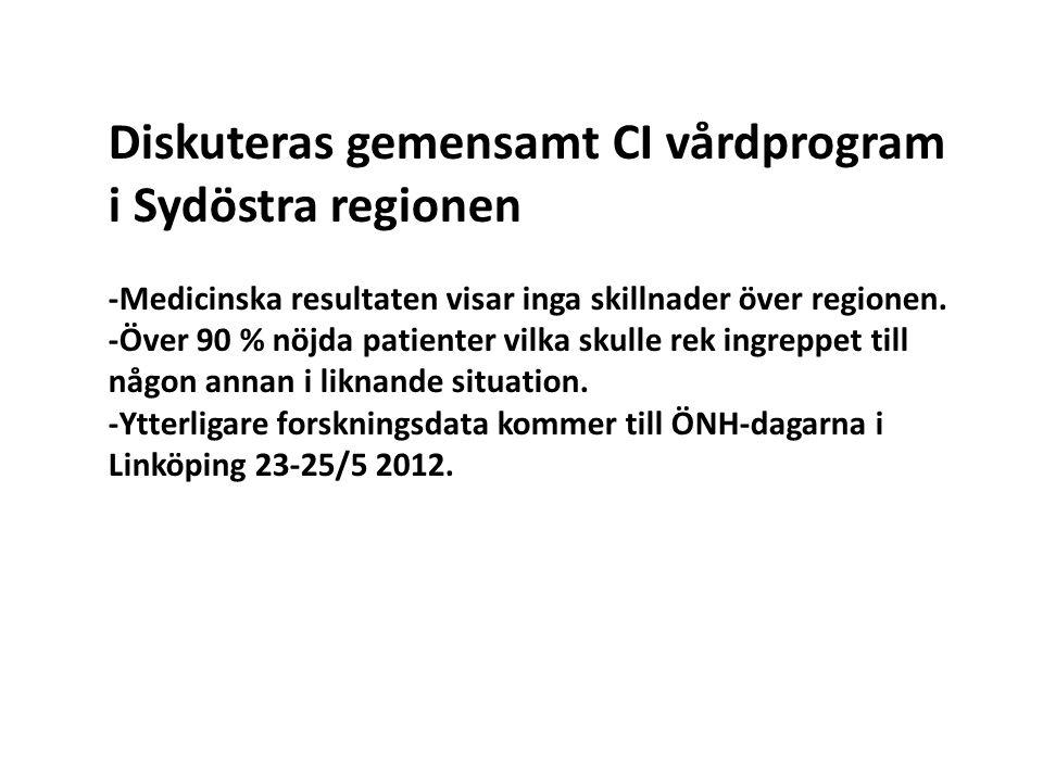 Diskuteras gemensamt CI vårdprogram i Sydöstra regionen -Medicinska resultaten visar inga skillnader över regionen. -Över 90 % nöjda patienter vilka s