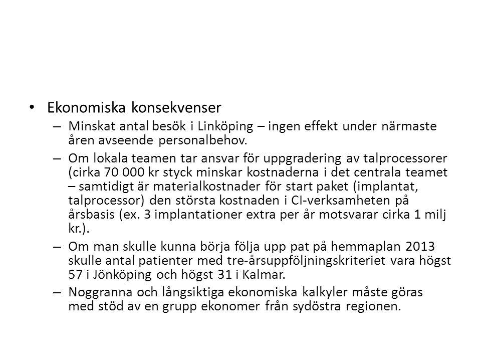 Ekonomiska konsekvenser – Minskat antal besök i Linköping – ingen effekt under närmaste åren avseende personalbehov. – Om lokala teamen tar ansvar för