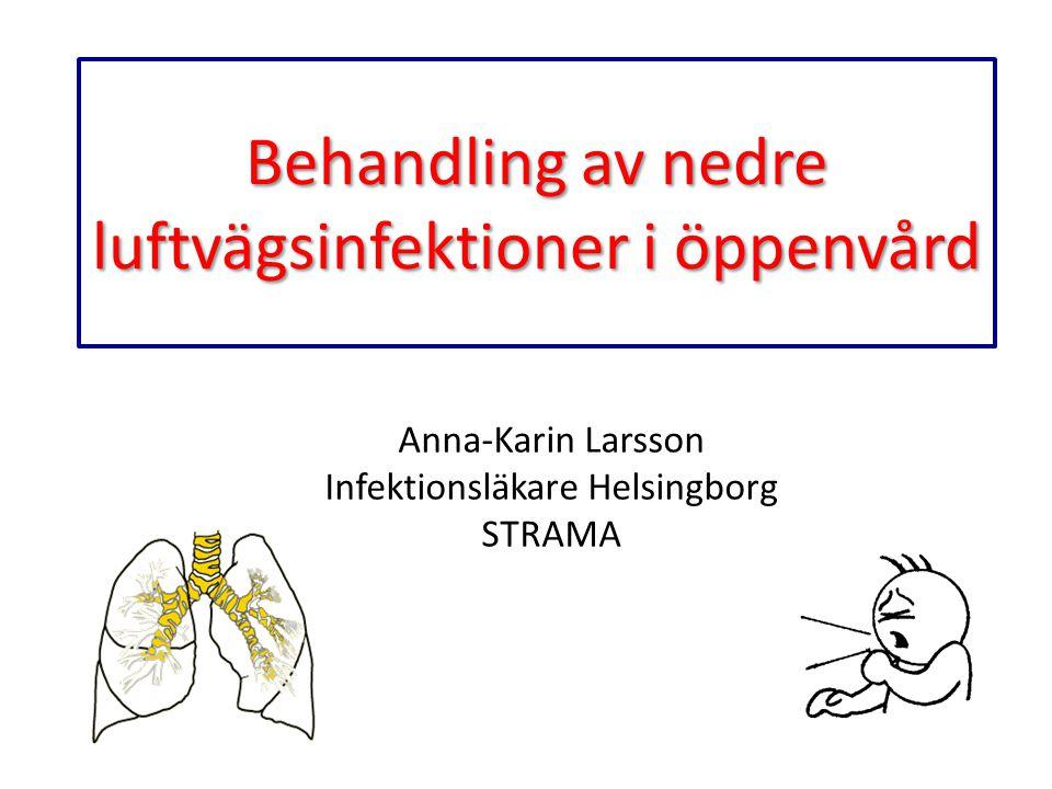 Behandling av nedre luftvägsinfektioner i öppenvård Anna-Karin Larsson Infektionsläkare Helsingborg STRAMA