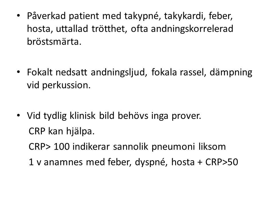 Påverkad patient med takypné, takykardi, feber, hosta, uttallad trötthet, ofta andningskorrelerad bröstsmärta. Fokalt nedsatt andningsljud, fokala ras