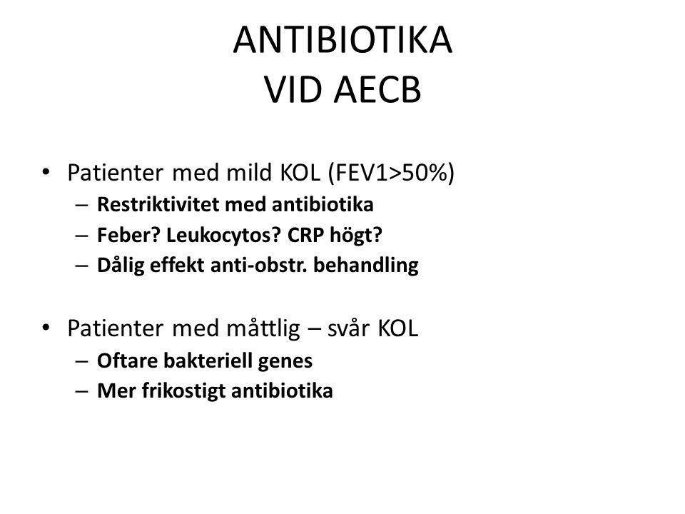 ANTIBIOTIKA VID AECB Patienter med mild KOL (FEV1>50%) – Restriktivitet med antibiotika – Feber? Leukocytos? CRP högt? – Dålig effekt anti-obstr. beha