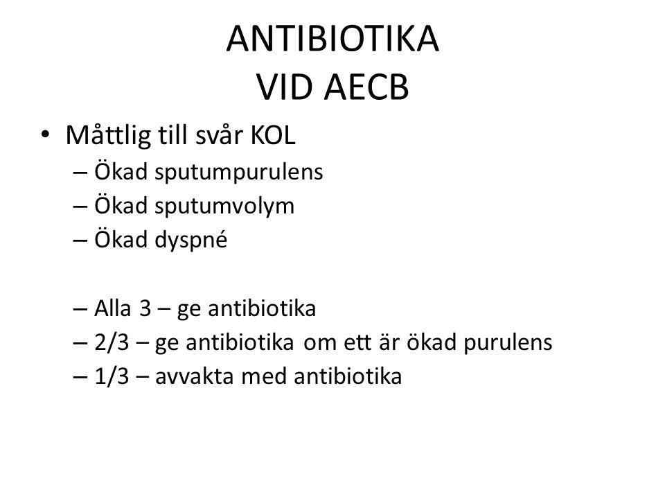 ANTIBIOTIKA VID AECB Måttlig till svår KOL – Ökad sputumpurulens – Ökad sputumvolym – Ökad dyspné – Alla 3 – ge antibiotika – 2/3 – ge antibiotika om