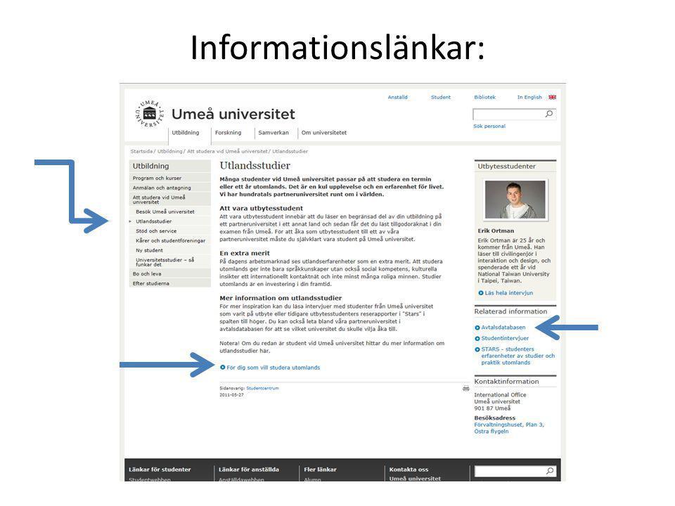 Informationslänkar: