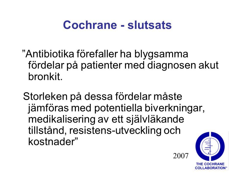 """Cochrane - slutsats """"Antibiotika förefaller ha blygsamma fördelar på patienter med diagnosen akut bronkit. Storleken på dessa fördelar måste jämföras"""
