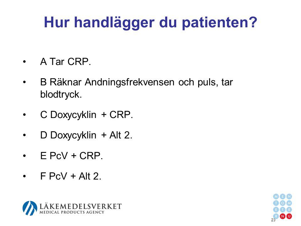 Hur handlägger du patienten? A Tar CRP. B Räknar Andningsfrekvensen och puls, tar blodtryck. C Doxycyklin + CRP. D Doxycyklin + Alt 2. E PcV + CRP. F