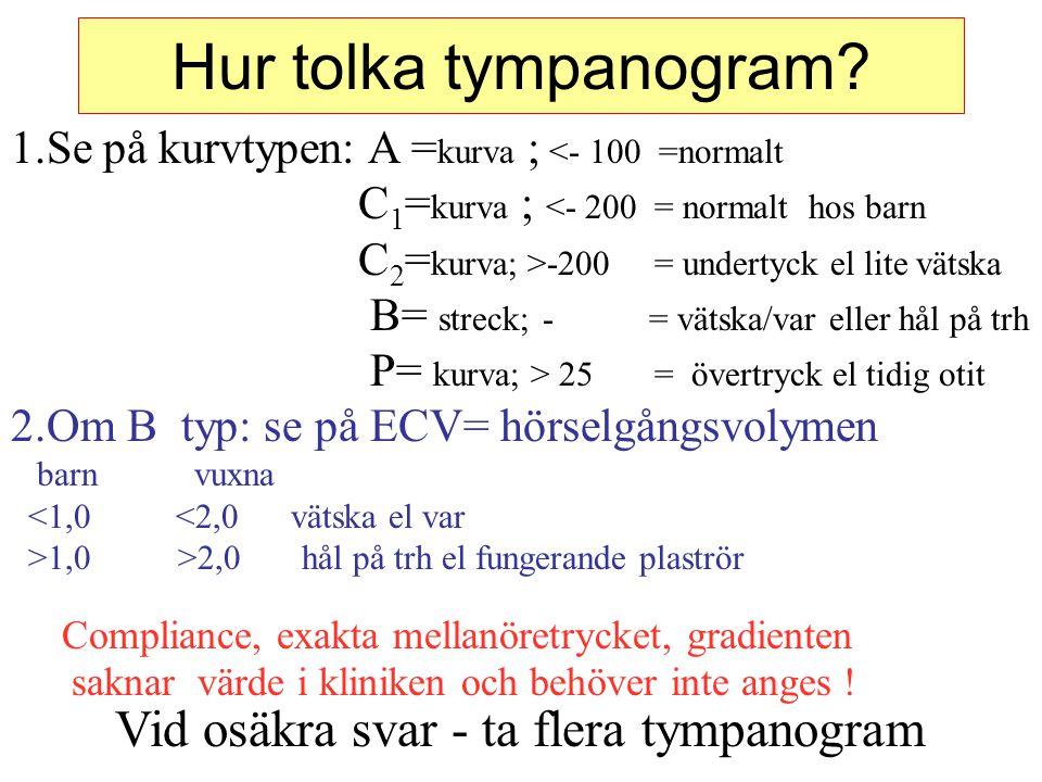 Hur tolka tympanogram? 1.Se på kurvtypen: A = kurva ; <- 100 =normalt C 1 = kurva ; <- 200 = normalt hos barn C 2 = kurva; >-200 = undertyck el lite v