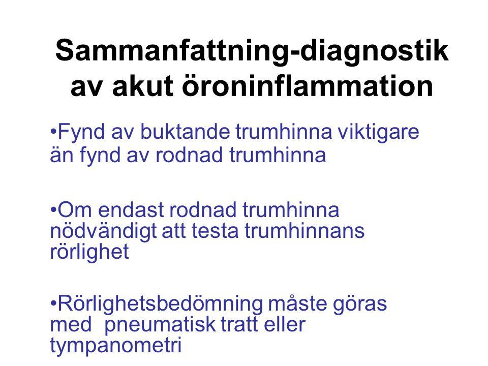 Sammanfattning-diagnostik av akut öroninflammation Fynd av buktande trumhinna viktigare än fynd av rodnad trumhinna Om endast rodnad trumhinna nödvänd