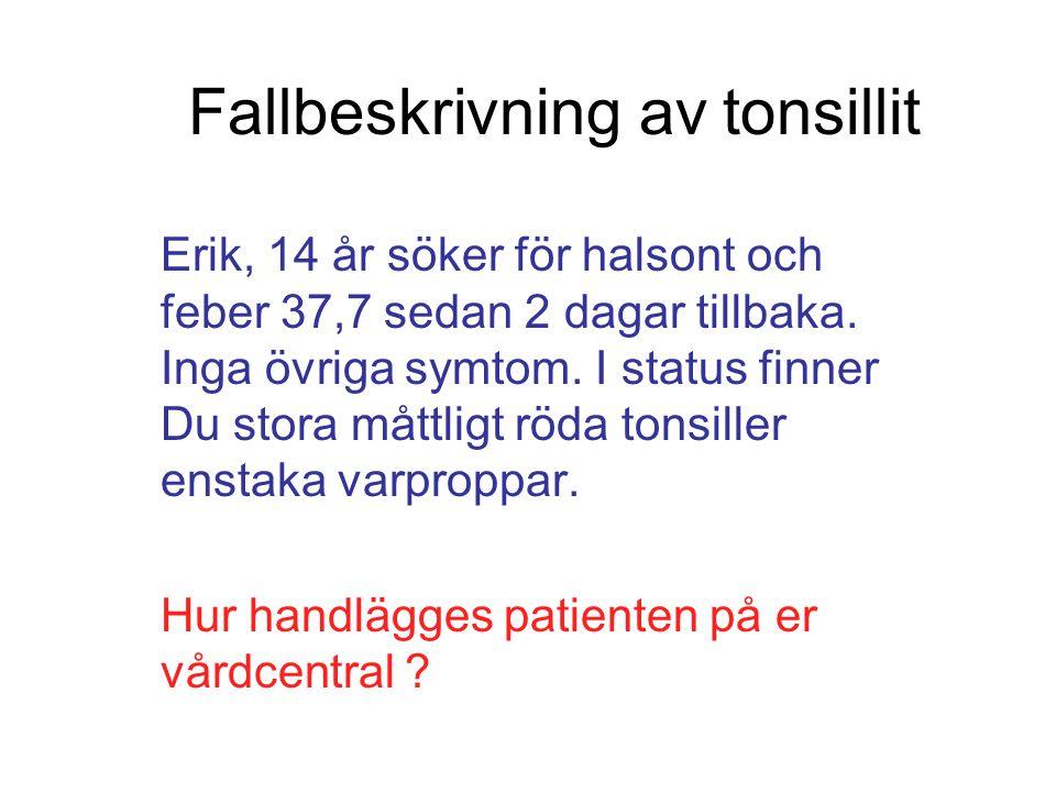 Fallbeskrivning av tonsillit Erik, 14 år söker för halsont och feber 37,7 sedan 2 dagar tillbaka. Inga övriga symtom. I status finner Du stora måttlig