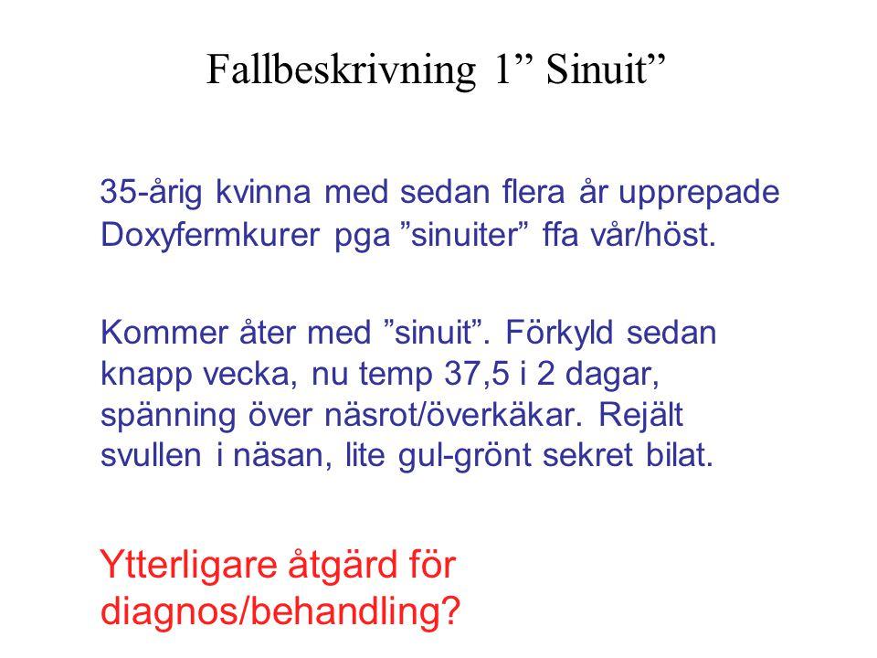 """35-årig kvinna med sedan flera år upprepade Doxyfermkurer pga """"sinuiter"""" ffa vår/höst. Kommer åter med """"sinuit"""". Förkyld sedan knapp vecka, nu temp 37"""