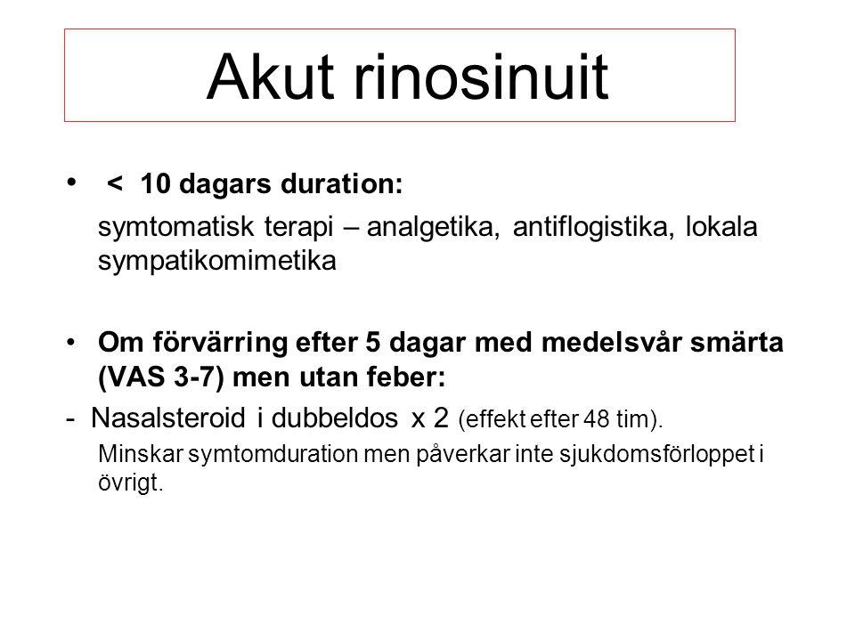 Akut rinosinuit < 10 dagars duration: symtomatisk terapi – analgetika, antiflogistika, lokala sympatikomimetika Om förvärring efter 5 dagar med medels